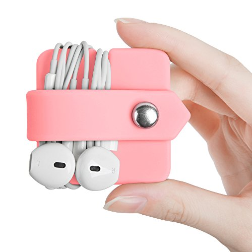 - ELFRhino Cord Organizer Earbuds Holder Earphone Wrap Earphones Organizer Headset Headphone Earphone Wrap Winder Cord Manager Cable Winder(Pink, 1 Piece)