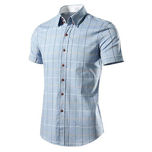 Stoota Mens Dress Shirt,Plaid Shirt,Short Sleeve Button Down