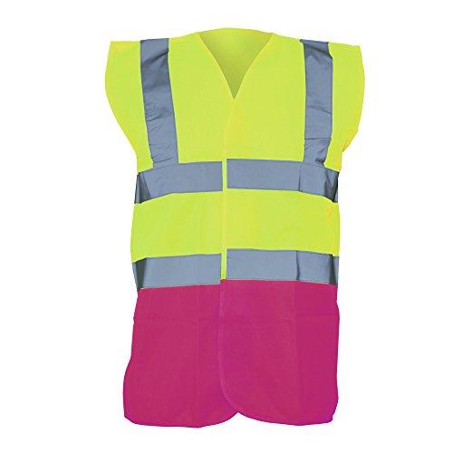Yoko Unisex Premium Hi-Vis Waistcoat Vest/Jacket (Pack of 2) (3XL) (Hi Vis Yellow/Raspberry) ()