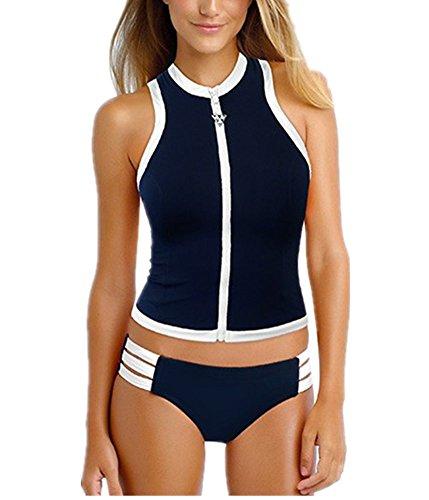 Superbaby Women Rash Tankini Vest Top Multi-strap Hipster Bikini Swimsuit (Total Sports Swimwear)
