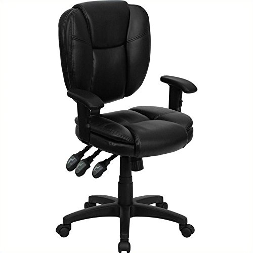 Flash Furniture Mid-Back Black Leather Multifunction Ergonomic Swivel Task Chair with Adjustable (Multifunction Black Leather)