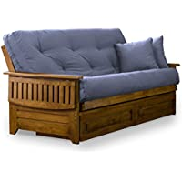 Brentwood Tray Arm Full Size Wood Futon Frame and Storage Drawers - Heritage Finish
