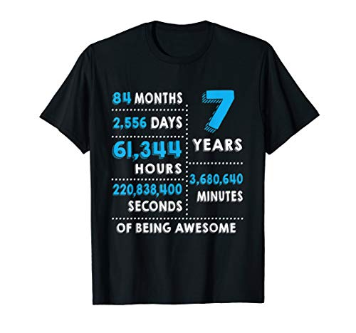 Shirt Birthday Boys (7th Birthday Gift T Shirt 7 Years Old Being Awesome Tee)