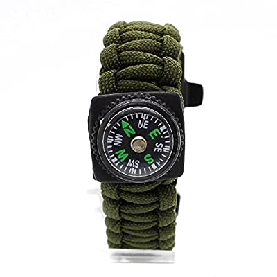 Outdoor Kingdom Emergency Survival Paracord Bracelet with Whistle, Compass, Scraper & Firestarter for Campers, Hikers, Hunters, Boaters, Fishermen and all Nature Enthusiasts: Black & Army Green