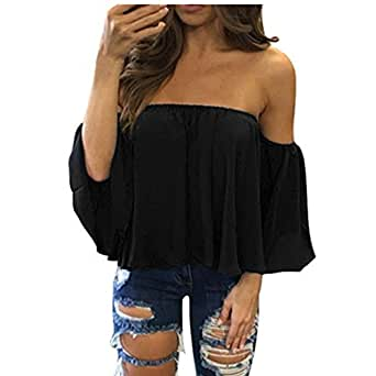 Lisingtool Women's Off Shoulder Stripe Casual Blouse Shirt Tops (S, # Black)