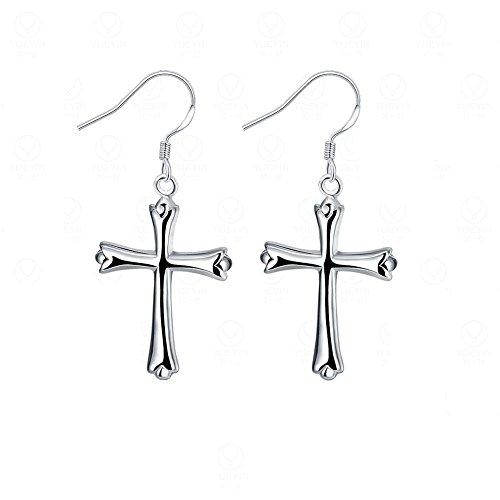 KOREA-JIAEN Fashion Jewelry Chests S925 Sterling Silver Dangle Earring Set (Cross)