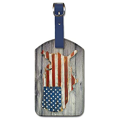 Leatherette Luggage Tag Baggage Label - USA Flag on Wood by Pacifica Island Art good