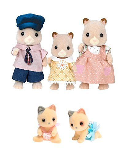 Calico Critters Fluffy Hamster Family with Twins Doll Set