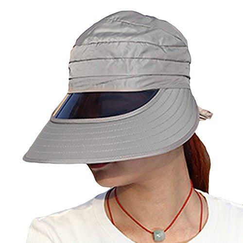 LOCOMO Transparent Plastic Sunglasses Brim Visor Wide Brim Hat Cap FFH202GRY (Hat Plastic Transparent)