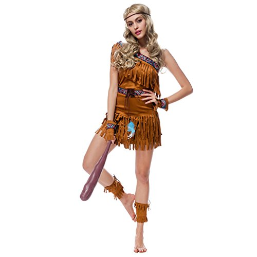 Boleyn Women's Native American Maiden Costume Sexy Halloween Princess Dress (Medium)