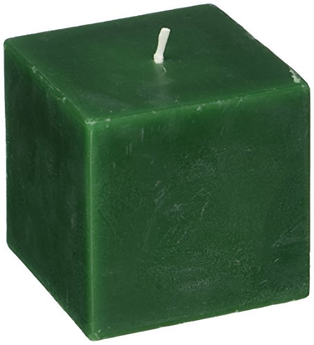 (Zest Candle Pillar Candle, 3 by 3-Inch, Hunter Green Square)