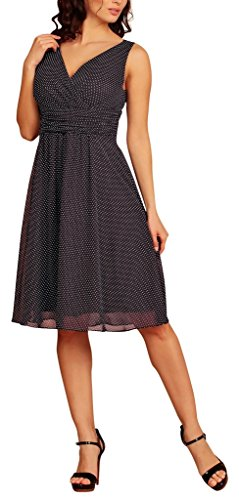 Dot Blue gasa cuello Dress pico cóctel Navy My corto Print Polka Vestido fiesta en Evening g0UHO
