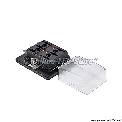 6-Way Blade Fuse Box [LED Indicator For Blown Fuse