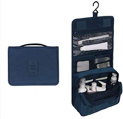 化粧品袋 ポータブル化粧品収納ボックス多機能トラベルコスメティックバッグ大容量の化粧ケース 旅行化粧収納ボックス (Color : Navy)