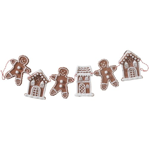 Gingerbread Man and houses Christmas Tree, Wreath, Mantle Garland, 30 inches - Christmas Decorations Gingerbread