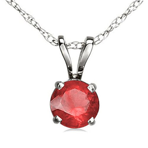 Dazzlingrock Collection 7 mm Round Cut Ladies Solitaire Pendant Silver Chain Included , Sterling Silver