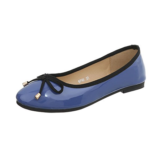 Design Ancho Mujer Ital Tacón Bailarinas Para Bailarinas Zapatos Clásicas 9740 Azul FdxYq