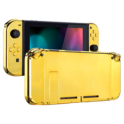 eXtremeRate Back Plate for Nintendo Switch Console, NS Joycon Handheld Controller Housing with Full Set Buttons, DIY Replacement Shell for Nintendo Switch - Chrome Gold ()