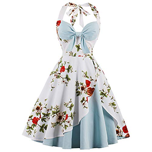 Suroomy Women Vintage Dress Homecoming Dress 1950s Retro Cocktail Dress Light Blue L