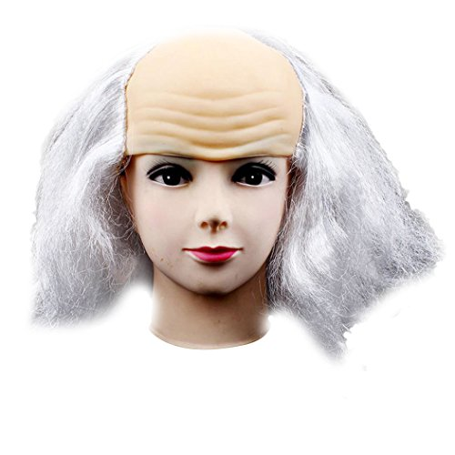 Kids Bald Wig With Curly Sides (Inkach Funny Old Lady Wigs Masquerade Supplies Bald Bald Wig (White))