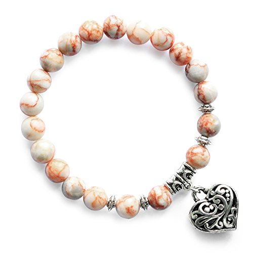 (MHZ JEWELS Natural Semi Precious Gem Stones Beaded Bracelet Handmade Red Japer Stretch Beads Heart Charm Bracelet Jewelry)