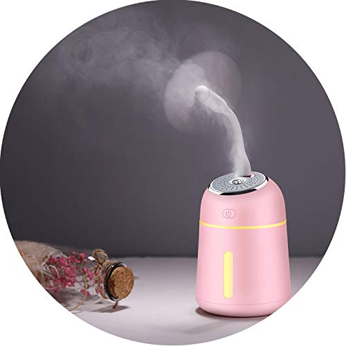 Mini Essential Oil Diffuser with USB Fan LED Lamp 330ML Air Humidifier for Home Office Car 3 in 1 Aroma Diffuser,Pink