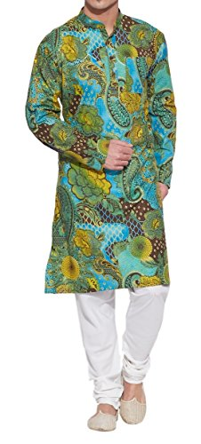 ShalinIndia Men Cotton Long Kurta Nehru Collar 3 pockets-Green-Size 40 Inch ()