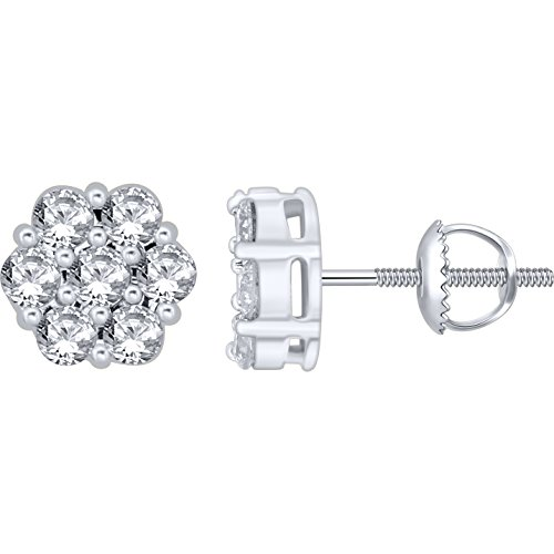 1.00 Carat (ctw) 14k White Gold Round Diamond Flower Shape Invisible Cluster Stud Earrings with Screw Back 1 CT (Gold Stud White Diamond Genuine)