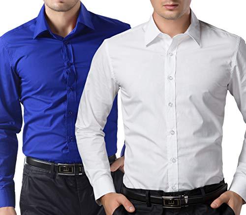 PJ PAUL JONES Essential Dress Shirts for Men Wedding(2XL, White+Royal Blue)