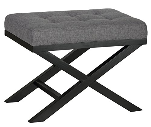 Cortesi Home Kayla Traditional Solid Wood X Legs Bench Ottoman in Linen Fabric, Grey