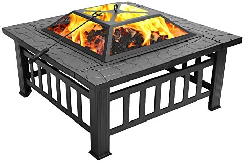 FCH 32 Metal Fire Pit Outdoor Backyard Patio Garden Square Stove Brazier with Charcoal Rack, Poker Mesh Cover 32 L x 32 W x 17 H