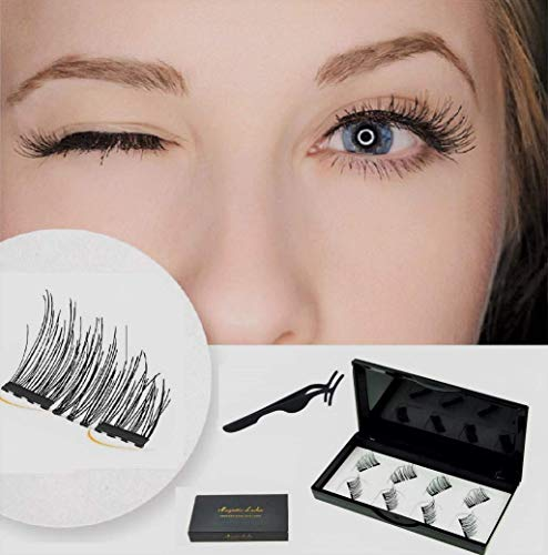 Premium Dual Magnetic Eyelashes Extension Set, Coco Makeup 0.2mm Ultra Thin Magnet, Light weight, Easy to Wear & Glue free-Best 3D Reusable Eyelashes with Tweezer (2Pair/8Pcs)