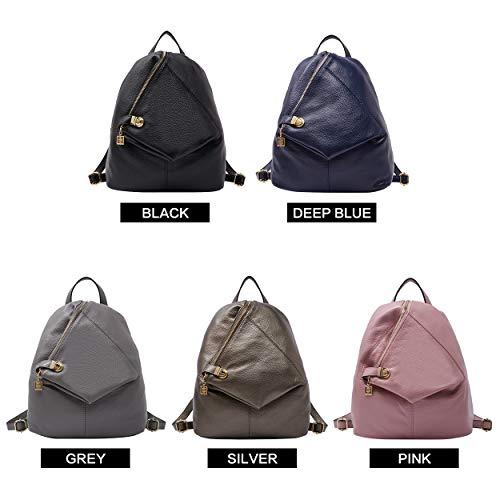 Rucksack Girls Travel Women Silver BOYATU Purse for Genuine Leather Backpack School Bag OxOFq0