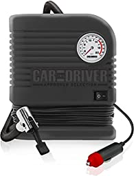 Car and Driver Home Use Inflator 300 PSI Portable Air Compressor with Cigarette Lighter Adapter, Black
