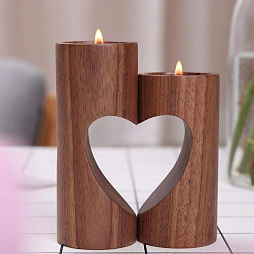 (2Pcs /Set Innovative Cutout Heart - Shaped Candle Holder Wooden Wedding DIY Candlestick Desktop Home Decoration)