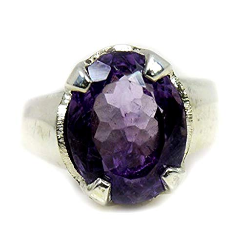 (55Carat Natural Amethyst Silver Ring for Men 5 Carat Oval Prong Birthstone Size 5,6,7,8,9,10,11,12,13)