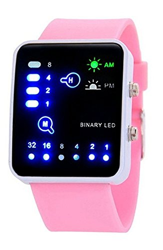 Carlien Fashion Binary Digital Led Waterproof Boys Girls Sport Casual Wrist Watches  Pink