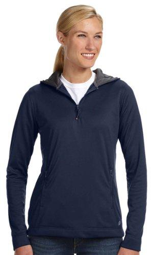 Russell Athletic Womens Tech Fleece Quarter-Zip Pullover Hood FS8EFX -Navy -