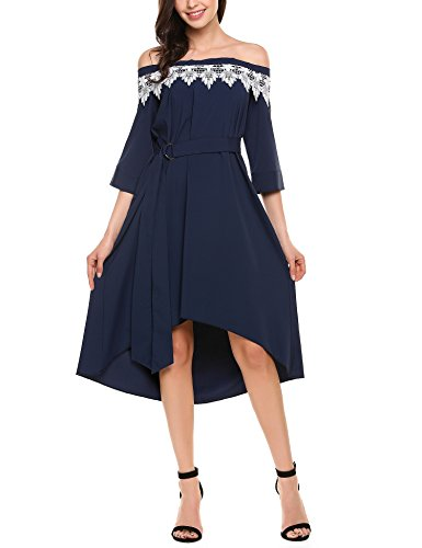 Meaneor Womens Summer Casual Floral Off Shoulder Ruffled A Line Swing Dress Navy Blue/M