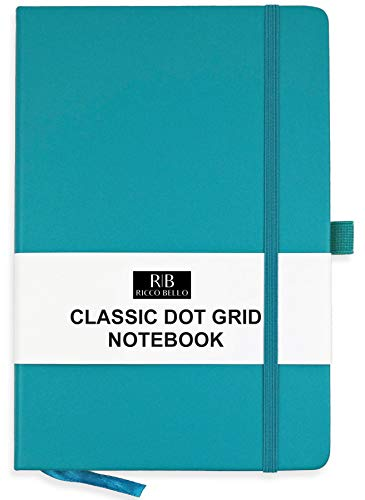 RICCO BELLO A5 Hardcover Dotted Notebook, Bullet Style Journal, Pen Loop, 5.7 x 8.4 inches (Teal)
