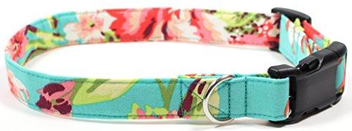 Aloha Girl Dog Collar with Pink Buckle, Hawaii Inspired Designer Cotton Dog Collar, Adjustable Handmade Fabric Collars (L - Black)