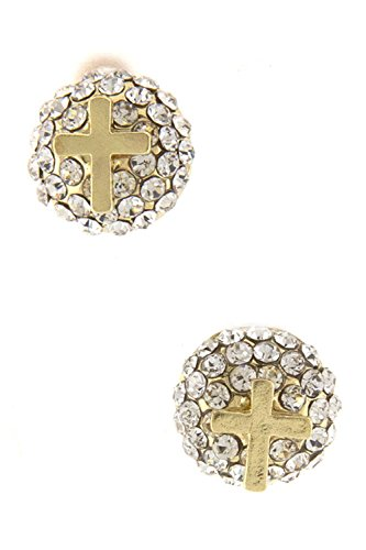 DIVA & DUCHESS RHINESTONE STUD BALL EARRING WITH CROSS STUD (Disco Ball Diva Costume)