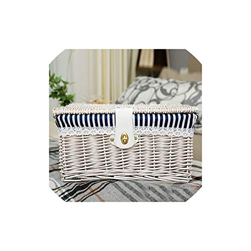 (fantasticlife06 Creative Bamboo Woven Storage Basket With Lid With Lock Storage Clothes Sundries Toy Storage Box Organizer Wicker Material,White)