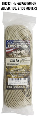 TOUGH-GRID 750lb Buckskin (Desert Sand) Paracord/Parachute Cord - Genuine Mil Spec Type IV 750lb Paracord Used by The US Military (MIl-C-5040-H) - 100% Nylon - Made in The USA. 100Ft. - Buckskin by TOUGH-GRID (Image #4)