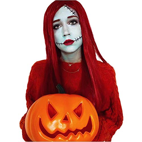 60cm Long Straight Red Center Part Halloween Cosplay Wigs (US Warehouse)]()