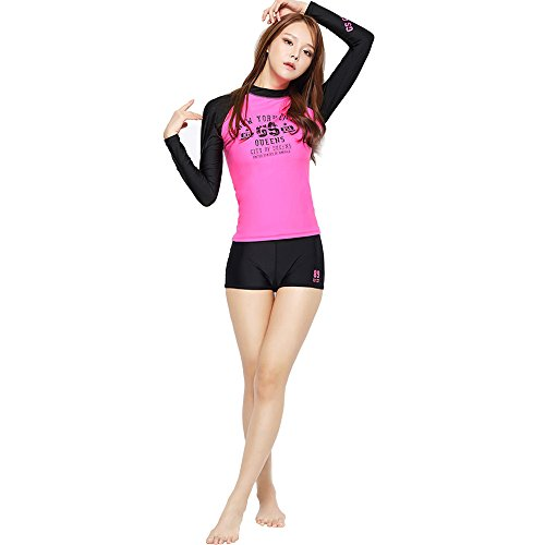 GSOU SNOW New Arrived Two Pieces Women Wetsuit for Swimming Triathlon Swimwear Long Sleeve Beach Surfing Swimsuits (002Rose&Black, Large)