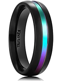 6mm Black Titanium Ring Rainbow Brushed Comfort Fit Wedding Band For Men Women