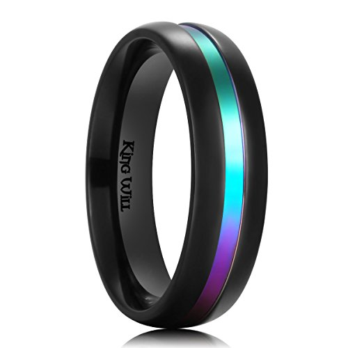 Plated Titanium Wedding Ring (King Will 6mm Rainbow Color Plated Titanium Wedding Ring Polished Dome Style Couple Band (8))