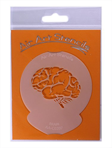 Brain Halloween Cupcake Stencil - Reusable Flexible Food Grade Plastic Stencil for Cake and Craft Design, Airbrushing and more by AIR -