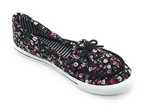 Blue Berry Easy21 Femmes Toile Bout Rond Slip Sur Plat Sneaker Oxford Bateau Chaussure Noir Floral